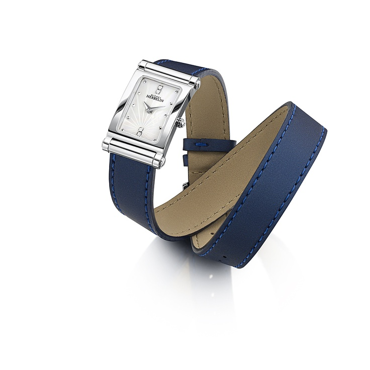 The Antares Interchangeable watch from Michel Herbelin featured on a stunning blue satin wrap around strap.    Price includes any additional strap from the huge collection.  Ref.COF17048/59LT. RRP