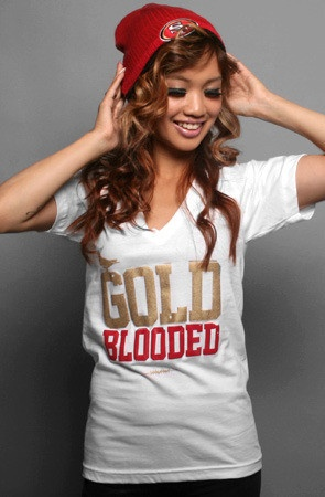 Just ordered my new shirt for the super bowl!  Adapt Advancers — GOLD BLOODED Women's White/Gold V-Neck