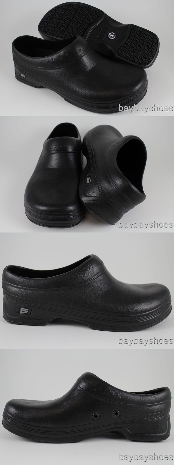 Occupational 53548: Skechers Oswald Clara Black Slip Resistant Work Crocs Slippers Slip-On Womens -> BUY IT NOW ONLY: $44.99 on eBay!