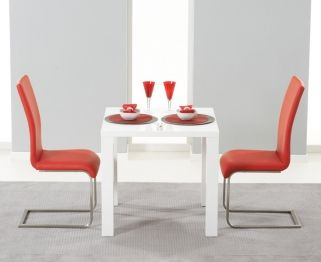 Hereford White High Gloss Dining Set - with 2 Red Malibu Chairs