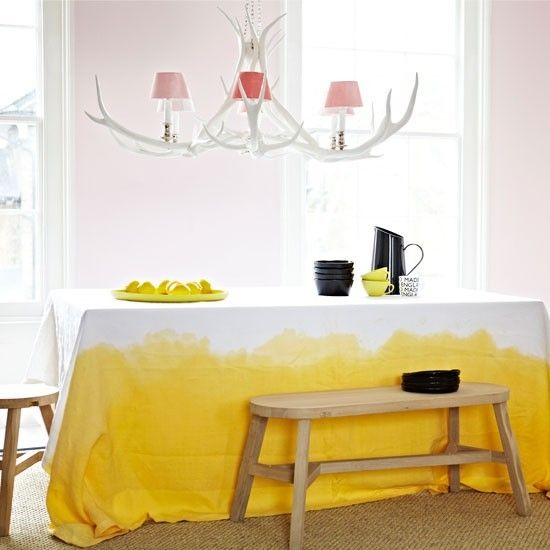 dip dye fabrics, curtains etc: Dining Room, Interior, Idea, Dyed Tablecloth, Yellow, Dip Dyed, Diy
