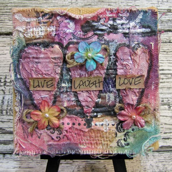 Live Love Laugh Mini Mixed Media Canvas - the next best thing by lynne: Canvas Corp Crew 4x4 Challenge