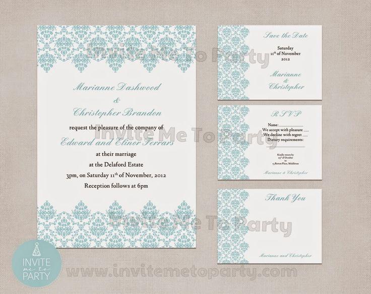 Invite Me To Party: Damask Wedding Invitation | Jacquard Wedding Invitation | Engagement Invitation | Milestone Birthday InvitationWed