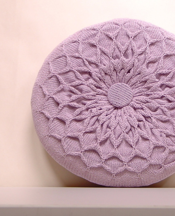 Pillow SALE Lilac Knitted Round Waffle Cushion Purple ...