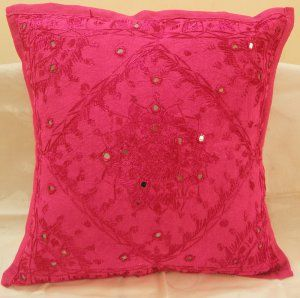 Decorated Embroidered Ethnic Indian Cushion Covers Pink Toss Pillows Sofa Throw Home Decor India