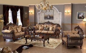 Seville Cherry Fabric Solid Wood Hand Carved Designs Living Room Set