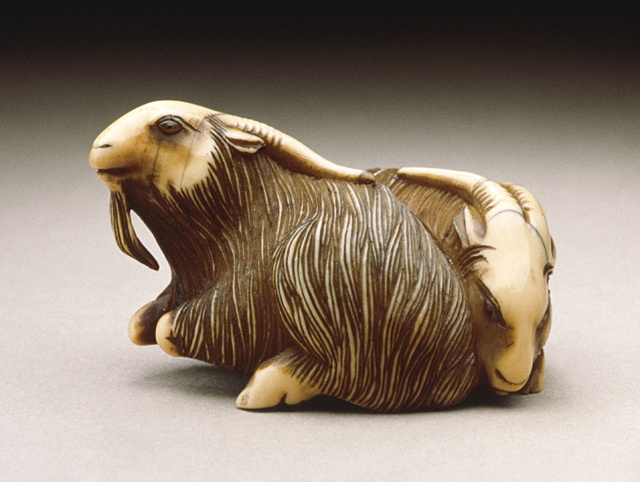Japan  Goat Pair, early 19th century  Netsuke, Ivory with staining, sumi, double inlays. LACMA