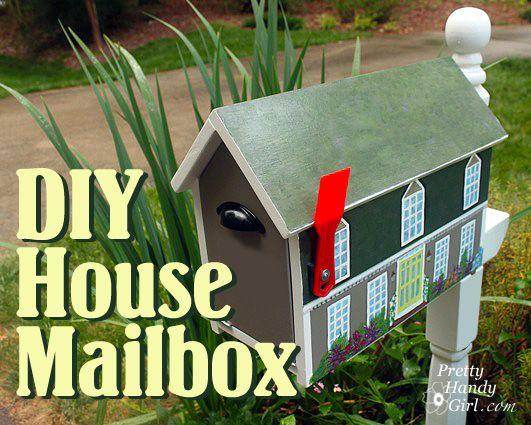 Make your own custom house shaped mailbox by Pretty Handy Girl a #LowesCreator: Lowe Creative, Diy Mailbox, Lowes Creative, Creative Ideas, Diy Custom Houses Mailbox Pin, Houses Shape, Diy Custom House Mailbox Pin, Shape Mailbox, Low Creative