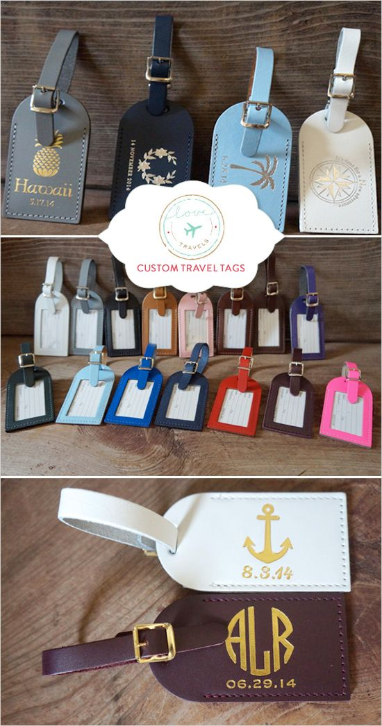 Custom travel tags! Use as escort cards or wedding favors. http://www.weddingchicks.com/2015/03/05/luggage-tag-wedding-favors-5/