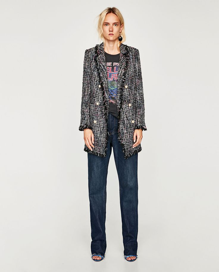 ZARA - WOMAN - TWEED JACKET WITH FAUX PEARL BUTTON
