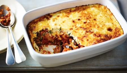 Red lentil and aubergine moussaka.