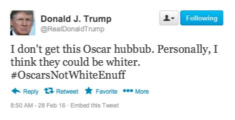 Republican front runner for the presidential nomination, Donald J. Trump, took to Twitter this morning to chime in on the #OscarsSoWhite controversy.