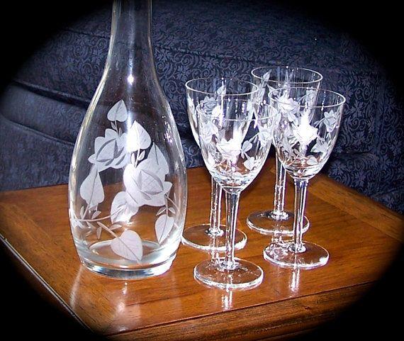 Wine Decanter & 4 Wine Glasses 1960s Wine Set   <www.etsy.com/shop/BackoftheDrawer>