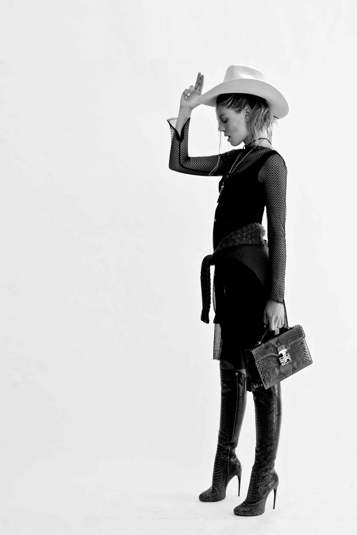 WILLOW dress, Gucci clutch and boots, leather tie from Strandhatters, R.M.Williams hat, Fleur Wood sweater, Alex Fraga 'Carnelian Tusk' necklace from Pierre Winter Fine Jewels