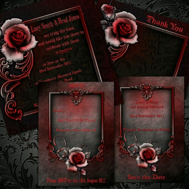 Dark red gothic wedding invatations