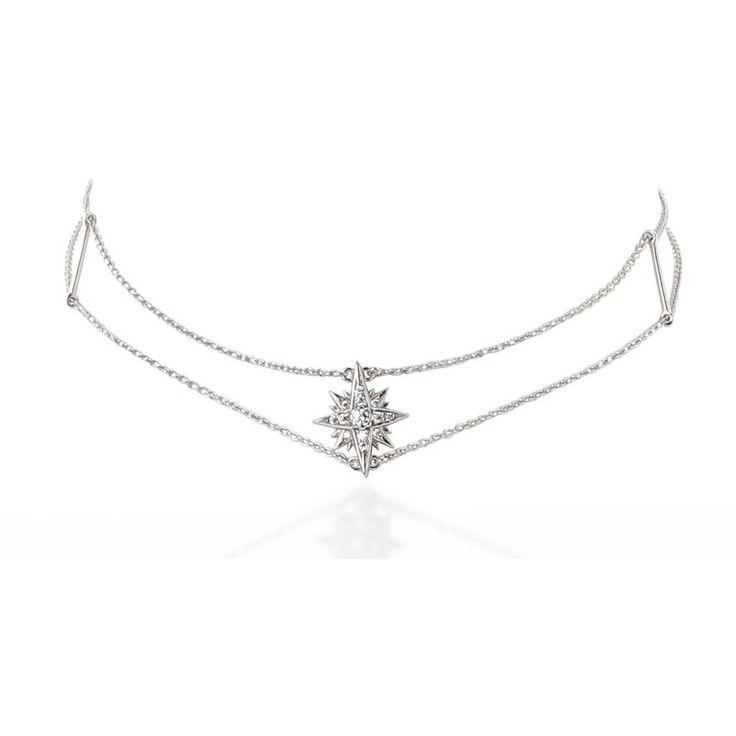 Starburst sterling silver chain choker