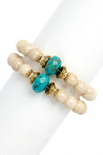 Mixed Metal Riverstone & Turquoise Bracelet Set on HauteLook