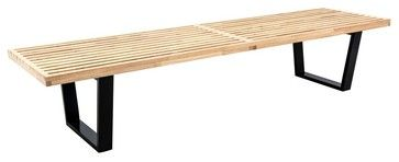 LeisureMod Mid-Century George Nelson Style Platform Bench Natural Wood, 6 Feet contemporary-indoor-benches