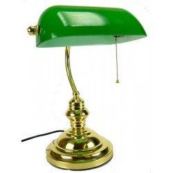 Lampada Ministeriale 35cm ottone lucido vetro verde roosvelt