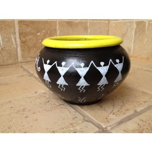 Terra Cotta Utility Bowl with Warli design