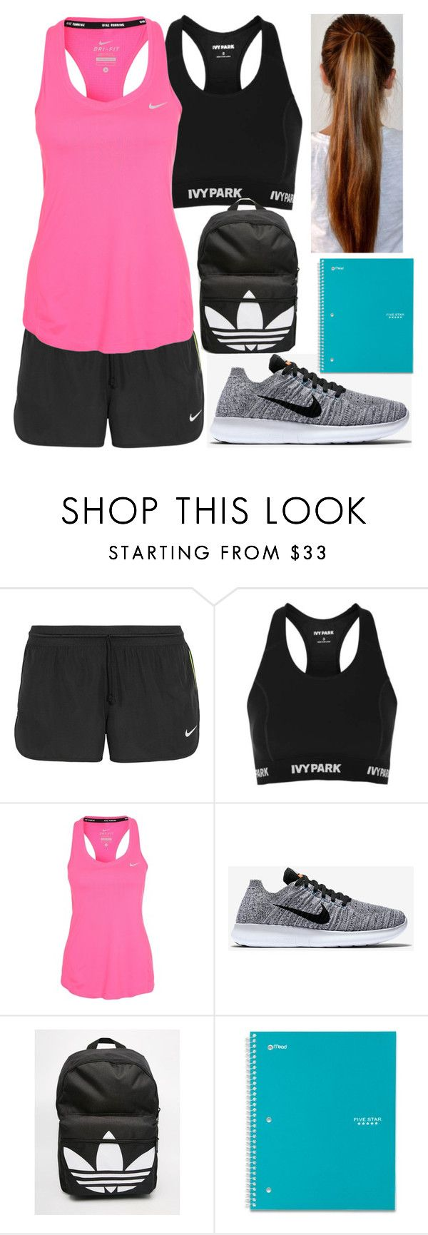 """""""Athletic Junior Outfit #1"""" by taylor-kennedy-i ❤ liked on Polyvore featuring NIKE, Topshop, adidas, school, athletic and Junior"""
