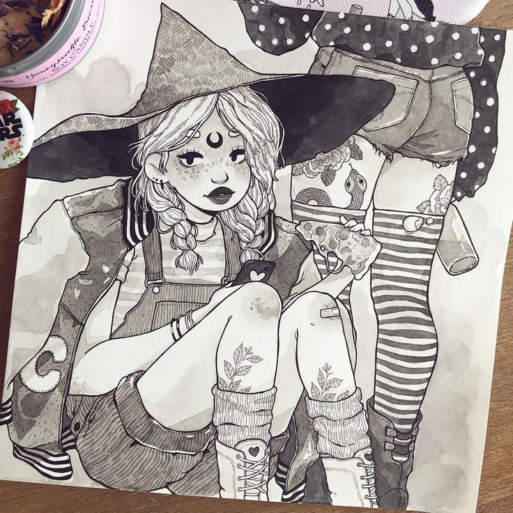 """3,634 Likes, 10 Comments - Alisa Vysochina (@alisavysochina) on Instagram: """"Party witches for day 21 #witchtober #inktober  It took me forever to finish them, all family is…"""""""