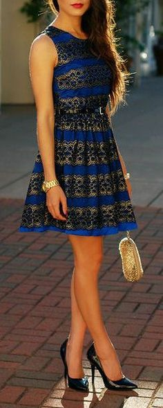 Blue Lace Flare Dress ♥