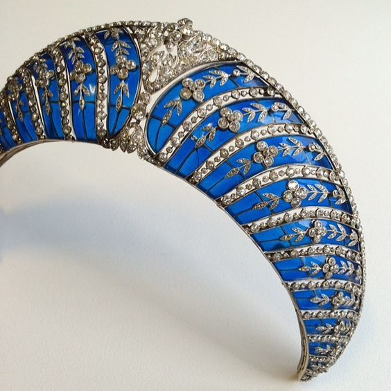 a close up of Chaumet's blue enamel kokoshnic for the Duke of Westminster