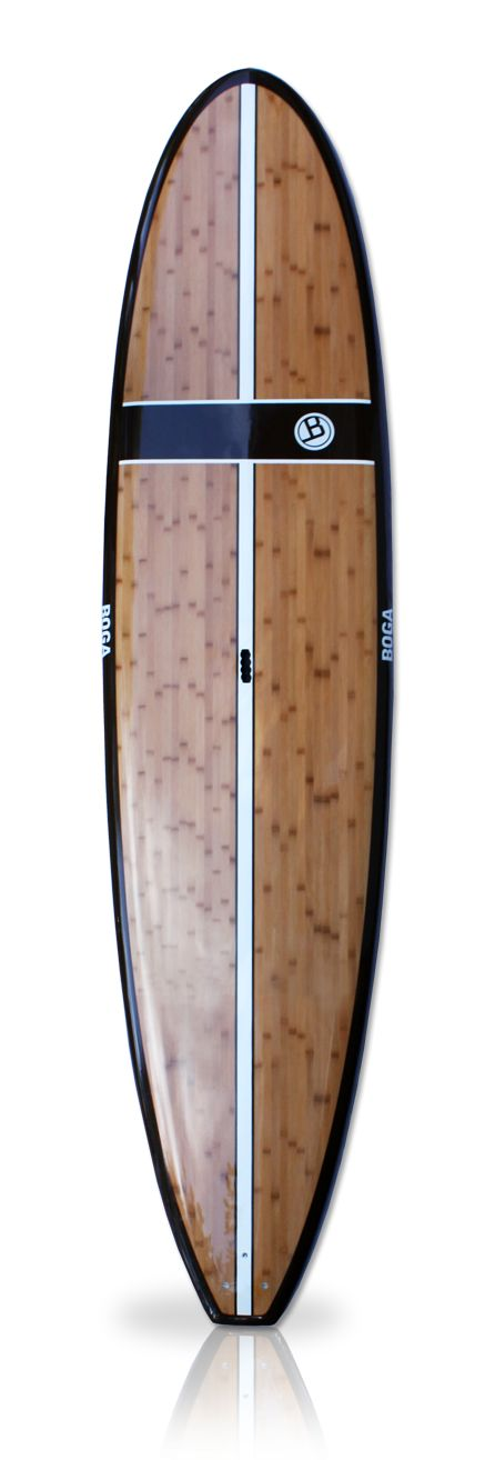 "Classic 11.2' Bamboo | Stand Up Paddle Boards | Our most popular Stand Up Paddle Board, the Classic has a smooth rocker line, a squash tail and 30"" width for great stability. Price includes 9.5"" custom glass fins and polished EVA diamond pad. Great flat water paddler that tracks and glides well. Hard rails and a narrow tail make this board super fun and loose in the surf also. Vacuum bagged wood sandwich construction, PVC stringer & PVC re-enforced fin boxes are standard."