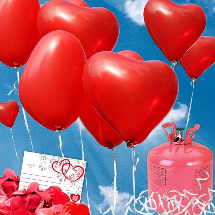 Hochzeitsspiele - Rote Herzluftballons - Luftballons steigen lassen