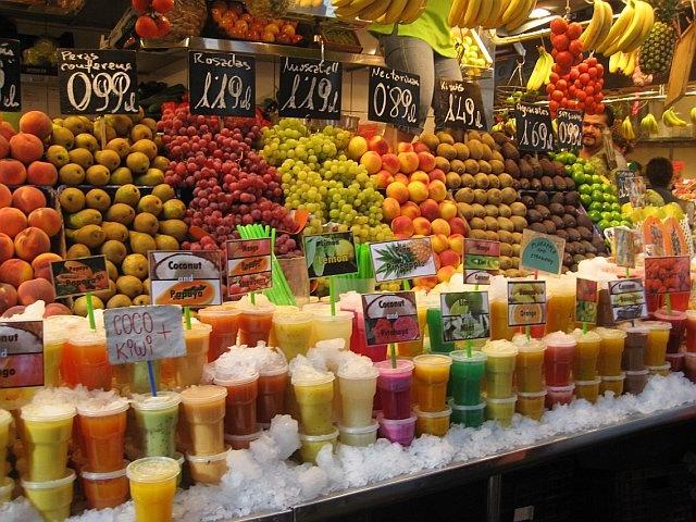The colours of La Boqueria food market in Barcelona, Spain.