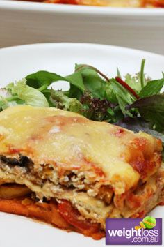 Healthy Dinner Recipes: Chargrilled Vegetable Lasagne. #HealthyRecipes #DietRecipes #WeightlossRecipes weightloss.com.au