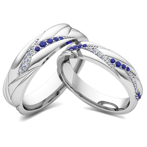 Matching Wedding Bands: Organic Inspired Rings in 14k White or Yellow Gold. His and hers wedding band set in 14k white gold wave rings with pave diamonds and blue sapphires or your choice of gemstones. Unique matching wedding ring for men and women as anniversary rings or wedding bands.