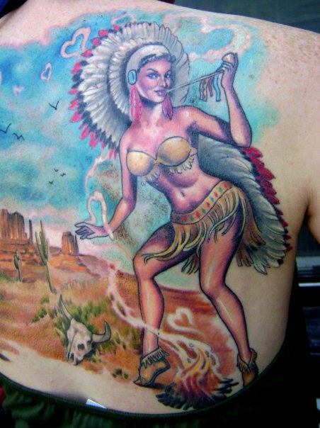 Hannah Aitchison Indian feathers pinup tat