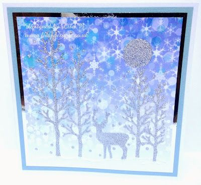 Handmade Christmas card. Imagination Crafts Sparkle Medium, stencil, background paper. http://lisabdesignsinspiration.blogspot.co.uk/2014/11/keep-it-simple-sunday-clearing.html