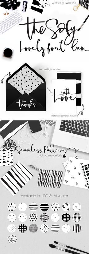 The Sofy Font Duo +Pattern+Freebie by mycandythemes on @creativemarket hand drawn lettering