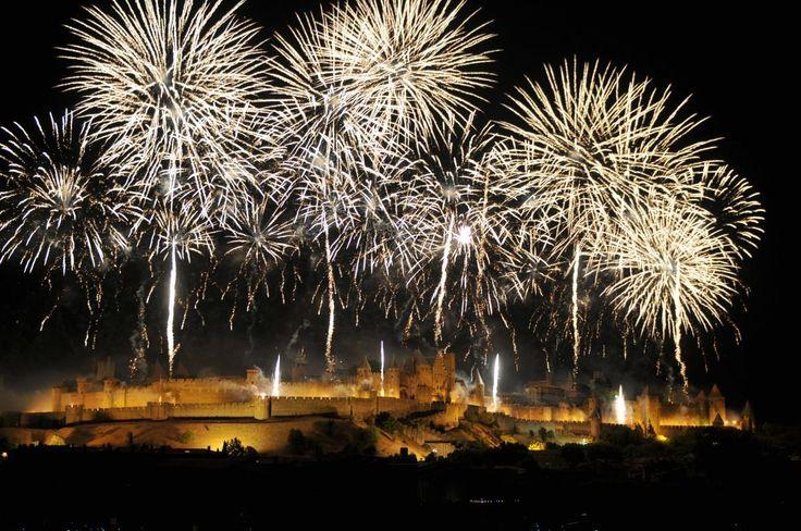 Carcassonne, France - fireworks 14 July 2016.