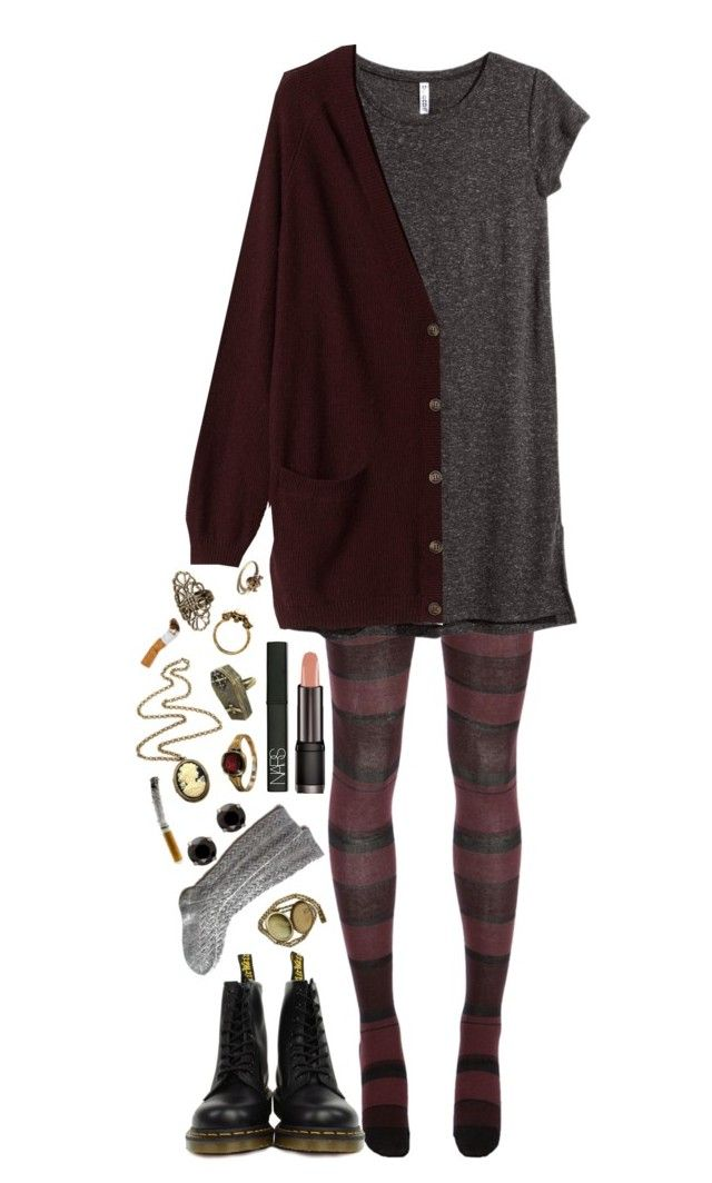 """""""~~Violet Harmon inspired~~"""" by we-are-the-wild-ones ❤ liked on Polyvore featuring Sonia Rykiel, H&M, Monki, Dr. Martens, NARS Cosmetics, House of Harlow 1960 and Cameo"""