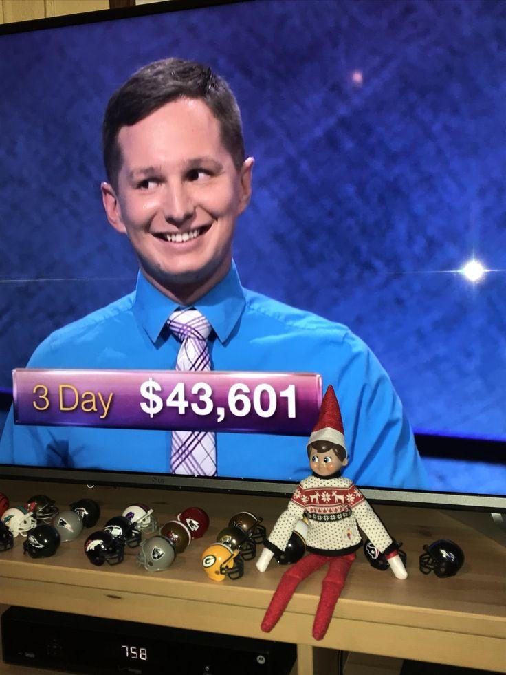 Tonight's Jeopardy Winner looks like the Elf on the Shelf elf.