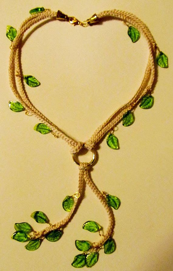 Crochet Necklace with glass leaves by Starfall on Etsy, $20.00