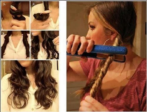 how to do beach waves in less than 5 minutes: 1. divide your hair into two parts. 2. braid each section and tie. 3. twist a section. 4. run your straighter/flat iron over both of the twist a few times. 5. untie twists, and you're done.