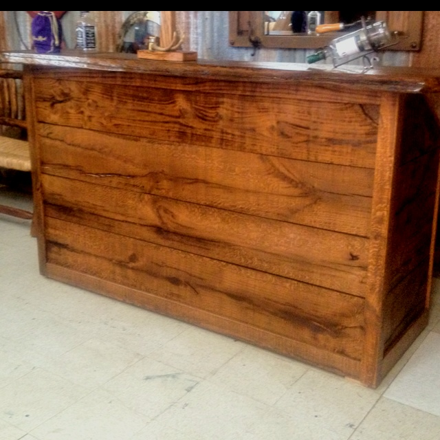 custom made solid oak bar made by owner of rustic kuts furniture