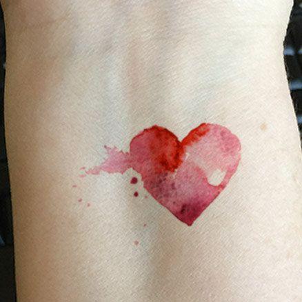 watercolor hearts tattoos