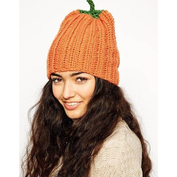 ASOS Halloween Pumpkin Beanie ($13) ❤ liked on Polyvore featuring accessories, hats, orange, asos beanie, chunky beanie, orange hat, pumpkin beanie and orange beanie