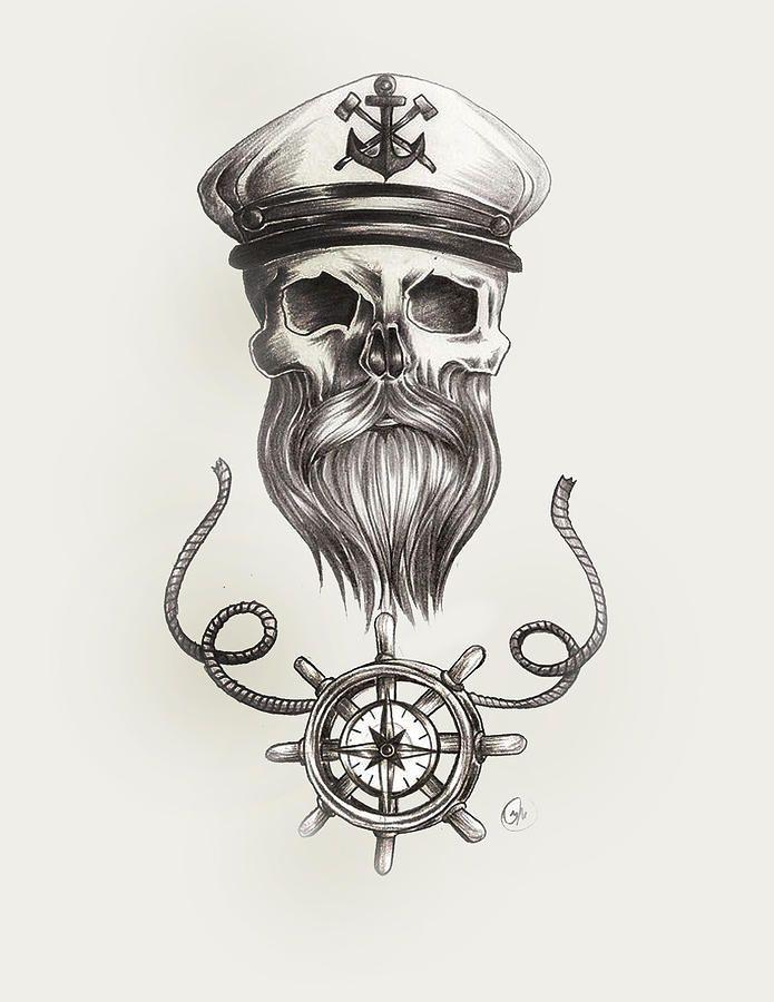 nautical-bearded-skull-jasmine-mills.jpg (695×900)