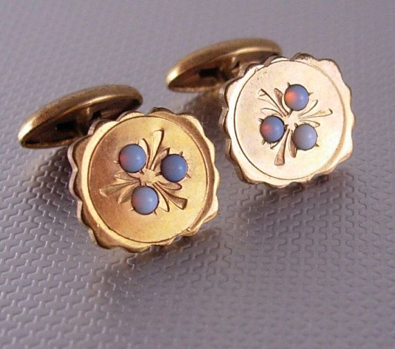 Antique Victorian opal Cufflinks genuine stone gold filled. Genuine opals shine like little stars in these antique cufflinks. The opal, also