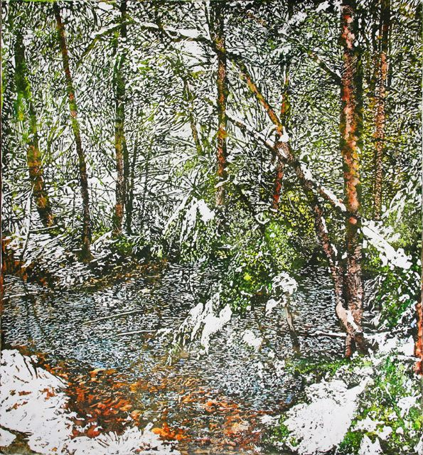 """creek 12 mile bay rd 32"""" x 30"""" micheal zarowsky. watercoour on arches paper private collection"""