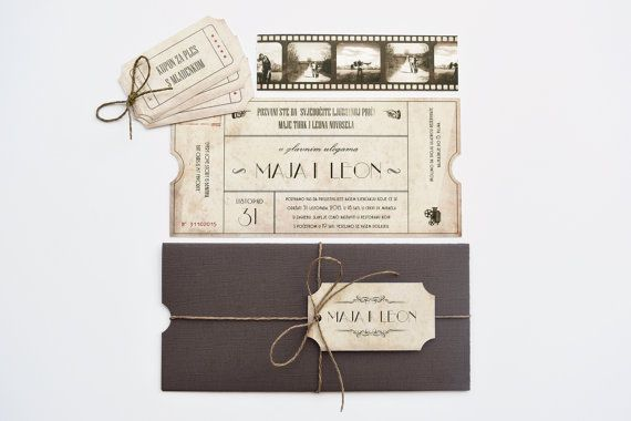 Vintage Movie Ticket Wedding Invitation | Themed, Film, Theater, Filmstrip  WHAT IS INCLUDED:  • Invitation - double-sided (the backside has a vintage background); printed on a 300 g card stock. Measurements: 20 cm x 10 cm / 7.9 x 3.9 (approx). • Dark Brown Envelope (Chocolate) • Rustic Brown Twine • Personalized Tag with names • Three personalized Coupons with any text you want (e.g. Coupon for Dancing with the Bride, One drink with the Groom, One dance with a bridesmaid...) • One Films...