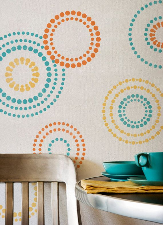wall stencils circling elements stencils for modern wall painting 5500 via etsy - Wall Paintings Design