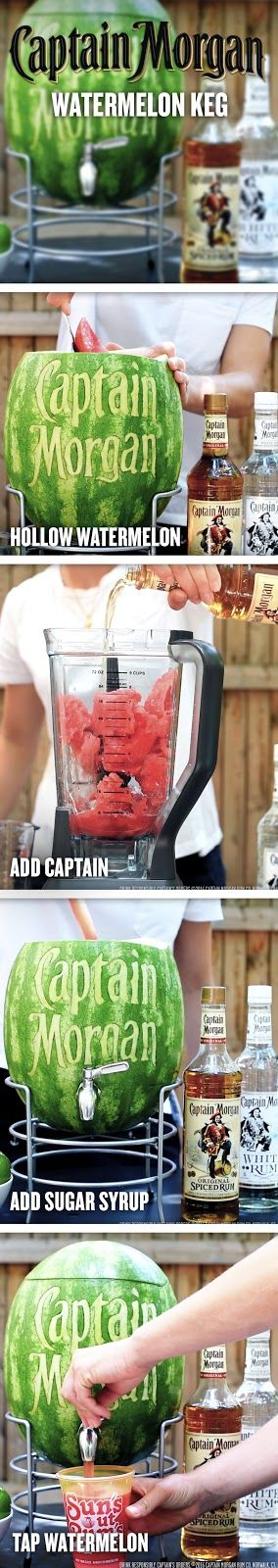 The Captain is bringing some fun to summer cocktails. To make a Captain's keg for you and 9 friends, combine 15 oz Captain Morgan Original Spiced Rum, 30 oz watermelon juice, 5 oz lime juice, and 5 oz sugar syrup in a hollowed out watermelon. Grab a cup and toast to summer, friends, and spiced rum.